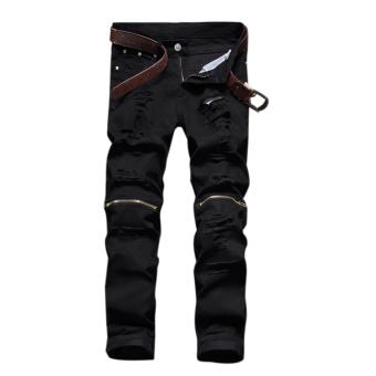 Haid Langsing Kurus Denim Jeans Yang Elastis (Hitam)