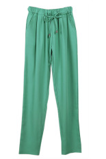 HANG-QIAO Casual Chiffon Harem Pants Green