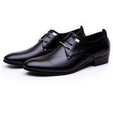 Hang-Qiao Men PU Leather Lace Up Cap-Toe Shoes Black