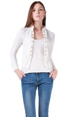 LALANG Women's New Autumn Slim Jacket Collar Double-breasted Coats White