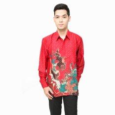 Hansen & Lisa Kemeja Batik Sutra Lengan Panjang Merah