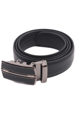 Hanyu Genuine Leather Auto Buckle Belt Waistband (Black)