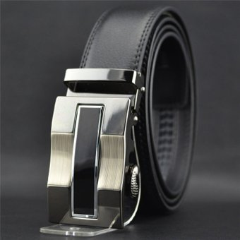 Hanyu Leather Belt With Alloy Automatic Buckle For Men Black Design 1