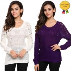 Happycat 2016 Stylish Ladies Women Casual Backless O-neck Long Sleeve Hollow Out Pullover Sweater-purple-S