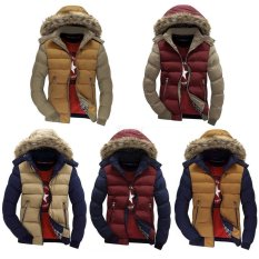 Happycat New Fashion Men Casual Parka Down Coat Hooded Padded Zipper Contrast Color Outwear (Red And Blue) (M)