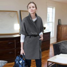 Happycat Fashion Women Cool Short Sleeve Standup Collar Autumn Winter Thick Wool Coat (Gray) (S)