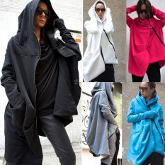 Happycat Stylish Women Casual Long Sleeve Cool Asymmetric Hooded Coat Zipped Jacket (Blue) (S)