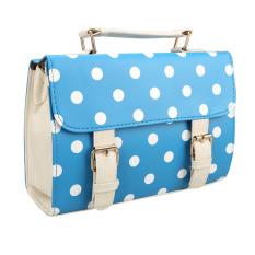 HDL Chic Women Polka Dots Messenger Bag Satchel Shoulder Bag Tote HandBag Blue