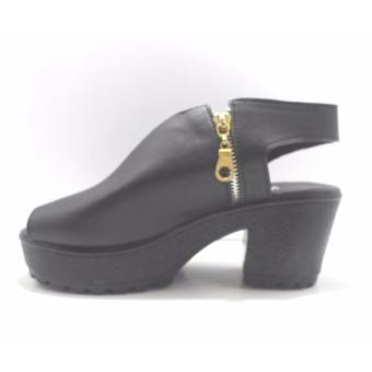heels sandal fashion woman / heels sandal wanita resleting non tali - hitam