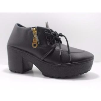 Heels Sandal Woman Reslering / Heels Sandal Wanita Resleting-hitam