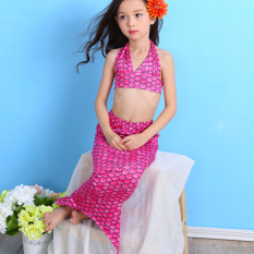 HengSong Anak Timbangan Gilrs Mermaid Ekor Renang Set Baju Pakaian Bikini Hot Pink