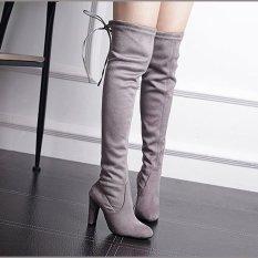 HengSong Pemukiman Chemicals Wanita Fashion Kulit Tumit Tinggi Her Bot Setinggi Lutut Abu-Abu