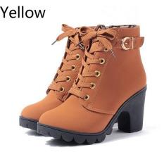 HengSong Wanita Hak Tinggi PU Tebal Kulit Martin Pergelangan Kaki Ritsleting Sepatu Bot Kuning