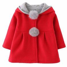 Hequ Kawaii Winter Long Sleeve Children s Clothing Overcoats With Hood Rabbit Ears Girls Jackets Red - intl
