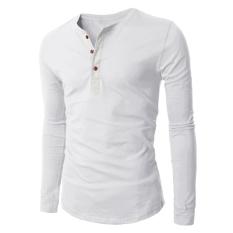 Hequ Men's 3 Button Long Sleeve T-shirt (White) (Intl)
