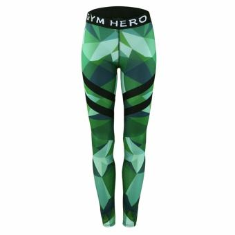 Hequ Women's Fashion Printing Gym Hero Stretch Skinny Leggings Yoga Sports Pants Green - intl