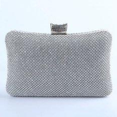 High-Grade Luxurious Women Clutch Box Evening Party Hand Bags Wallet Card Holder Wallet Purse (Silver) - Intl