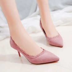 High-heeled Shoes 2017 New Korean Version of the Wild Fine with Shallow Mouth Scrub Sexy Wood Ear Tip Pointed Shoes Pink - intl