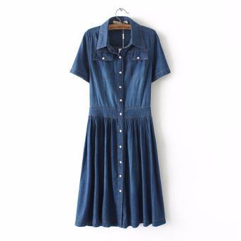 b0094598f9ca0 Harga 2017 Summer New Strap Dress Long Slim Casual Denim Skirt ...