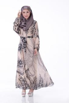 High quality Muslim gown Arab islamic women dress fashionable Soft Comfortable dresses - Khaki - intl