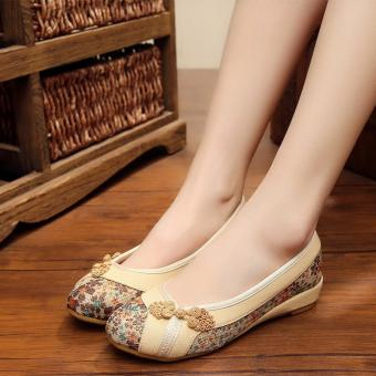 High Quality Women Canvas Shoes Woman Casual Comfortable Linen Cloth Shoes (Beige) - intl