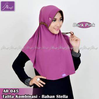 Hijab Instan Arrafi Talita Kombinasi (Warna Dark Pink) AR45A Jilbab Kerudung Bergo Khimar