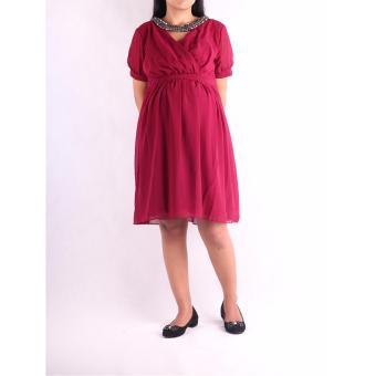 HMILL Baju Hamil Dress Hamil 1247 - Merah Import