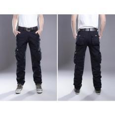 Hot Sale 2017 New Casual Men's Tactical Cargo Pants Slim Multi Pocket Men's Pants Three Colors Available Fashion Cargo Pants Hot Sale (Dark Blue) - Intl