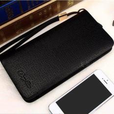 Hot Sales Men's Soft Leather Handbag Large Capability Single Zipper Plaid Business Long Wallet Portable Phone Bag(Black) - intl