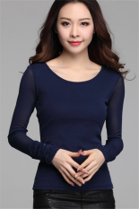 Hotyv Korean Fashion Elegant Long Sleeve O-neck Casual T-shirt HTS004 Blue (Intl)