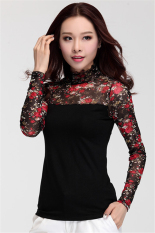 Hotyv Korean Fashion Long Sleeve Floral Pattern Mesh Patchwork T-shirt HTS017 (Red Flower) (Intl)