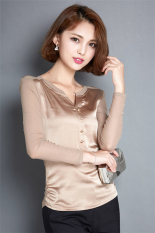 Hotyv Korean Fashion Long Sleeve Open Neck T-shirt HTS011 Gold (Intl)