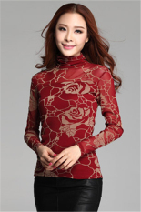 Hotyv Korean Long Sleeve Floral Pattern Mesh Turtleneck T-shirt HTS008 Red