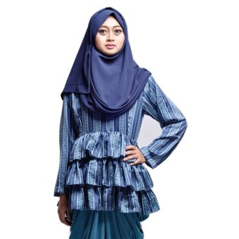 House of Shaqina Top Minang Peplum Trap - Biru