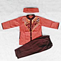 HQo Baju Muslim Setelan Koko Anak - Oranye Krem