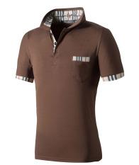 Huaway Men'S Fashion Fitness Slim Fit Plaid Pocket Short Sleeve Polo Shirts (Brown)