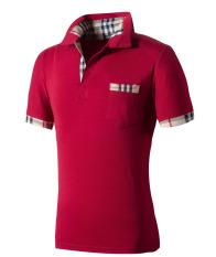 Huaway Men'S Fashion Fitness Slim Fit Plaid Pocket Short Sleeve Polo Shirts (Red)