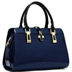 Ilife Famous Brands HandbagsLuxury Elegant Female Big Bags Crocodile Women's Genuine Leather Handbag Cowhide Messenger Bag Blue