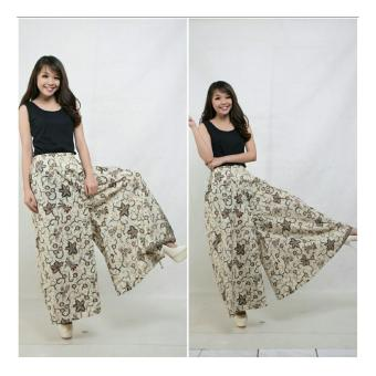 Harga Terbaru SB Collection Celana Kulot Rok Batik Gade Wide Jumbo Long Pant-Putih Gading