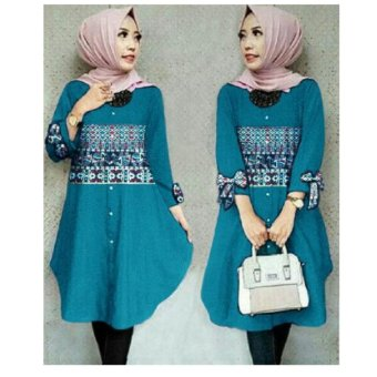 Harga Terbaru 168 Collection Atasan Blouse Tessa Tunik-Biru