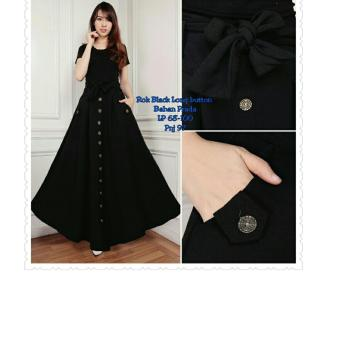 SB Collection Rok Panjang Black Long Button Skirt-Hitam