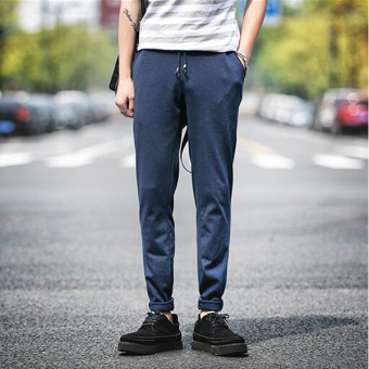 harga new fashion pria Korea kapas kolam celana jogging celana ramping kaki celana panjang santai elastis renda biru muda Lazada.co.id