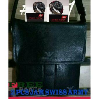 ... Tas Kulit Import GIORGIO ARMANI Pria Cowo Branded FREE 2PCS JAM TANGAN SWISS ARMY KULIT