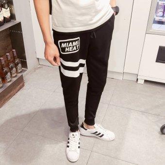 ZUNCLE Men's Miami Heat Printing Slim Feet Pant(Black)