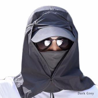 harga Hequ new chic kami 360 perlindungan sinar UV matahari blok topi helm lipat topi nilon mendaki memancing Trave hijau tua - International Lazada.co.id