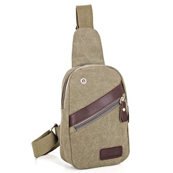 360DSC Sporty Fashion Multifunctional Canvas Chest Pack Satchel Shoulder Bag Crossbody Bag with Earphone Hole for Men - Army Green