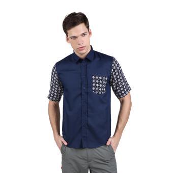 EN-ZY Batik Cap Short Sleeve Shirt - Navy
