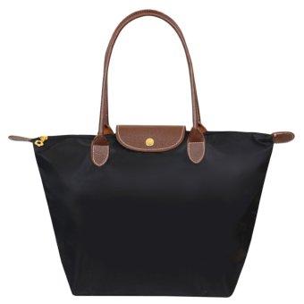 360DSC ukuran kecil model lipat bentuk pangsit nilon tas wanita tas jinjing tas pantai untuk wanita - hitam - Internasional