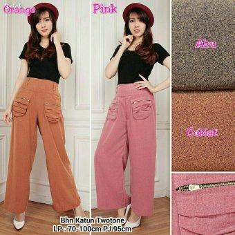 Harga Terbaru 168 Collection Celana Two Pocket Kulot Long Pant-Abu