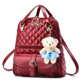 Wanita High Quality Elegant Korean Bag Style 3in1 Beige Vicria Tas Ransel Branded Flowers Ring Women